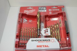 Milwaukee Drill Bit Set Hex Shank Twist Impact Duty Drilling Titanium 23 Piece - $64.30