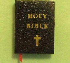 Dollhouse Black Bible Jacqueline 4700 Ribbon Bookmark Gold Edge Miniature - $2.80