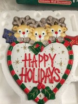 vtg HAPPY HOLIDAYS REINDEER Wall Plaque Christmas Holiday dolomite ceramic - $11.99