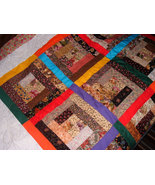 Log Cabin Window Panes Bright Brown Browns Floral Quilt Throw Blanket Co... - $175.00
