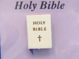 Dollhouse Bride's White Bible w Ribbon Bookmark 4701 Jacqueline's Miniature - $2.80