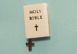 Dollhouse White Bride's Bible Cross bookmark 4703 Jacquelines NRFB 1:12 ... - $3.70