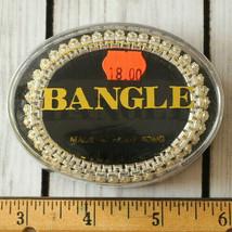 new vintage wide rhinestone bangle bracelet stretch silver tone in origi... - $19.79