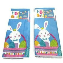 Easter Bunny Kitchen Towel Set Spring Pastel Colors Eggs Hoppy Happy  H... - $15.29
