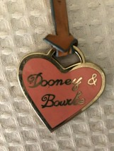Dooney and Bourke Heart Fob Bag Charm Keychain Pink Leather Metal - $10.88
