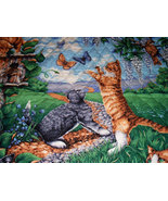 Cats At Play Outside Floral Birds Scenery Wall Hanging Fabric Art Quilte... - $25.00