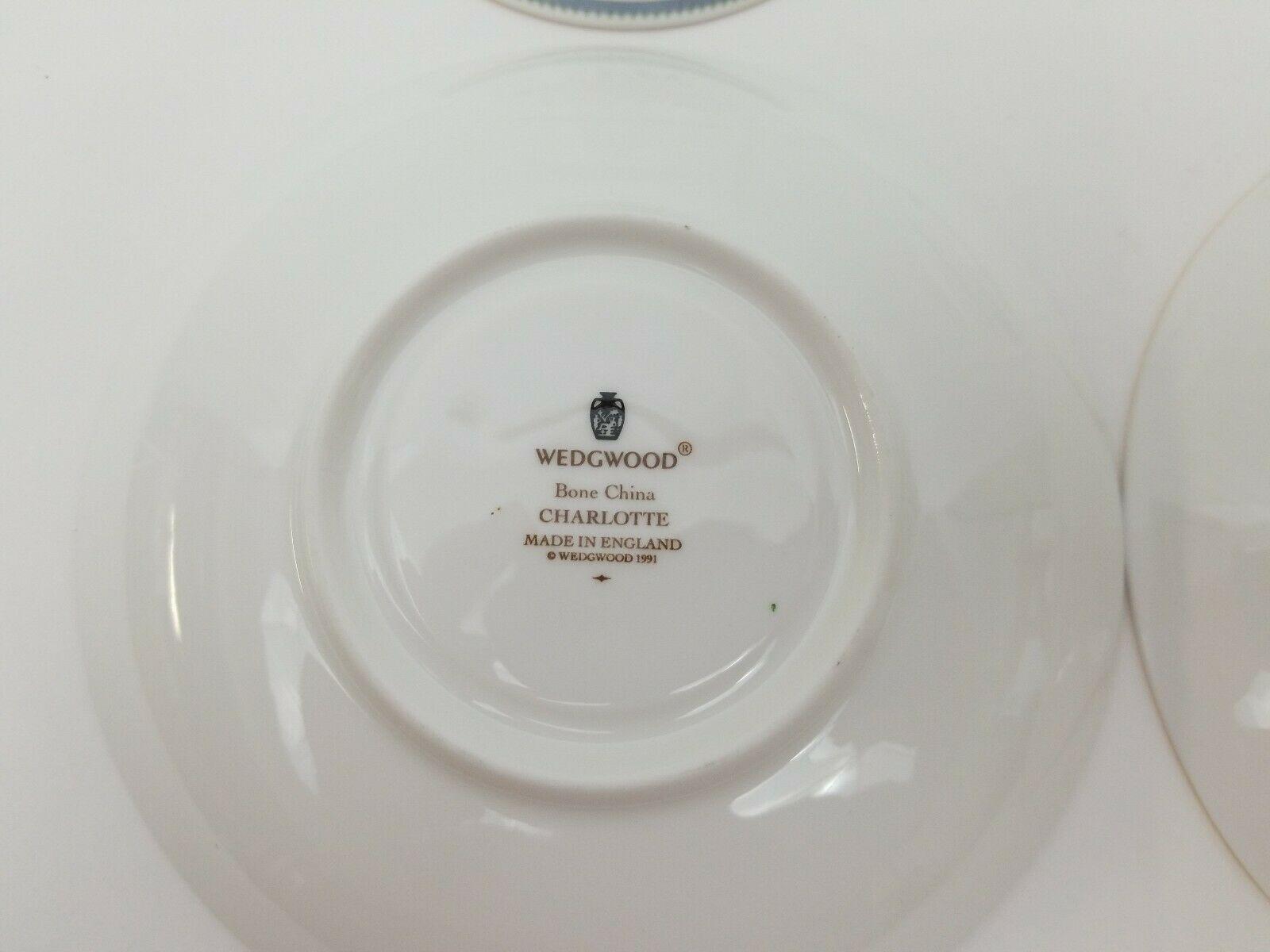 Wedgwood Bone China Cup & Saucer Set of 2 Charlotte White Gold Trim England 1991 image 6