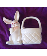 Vintage Fitz and Floyd White Bunny with Basket figurine Handpainted - $19.99