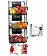 Wall Mounted Fruit And Vegetable Wire Baskets Set of 3 For Potato And On... - $101.99