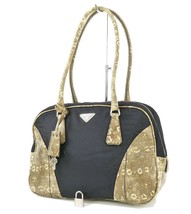 Authentic PRADA Blue Nylon and Snakeskin Tote Hand Bag Purse #32257 - $239.00