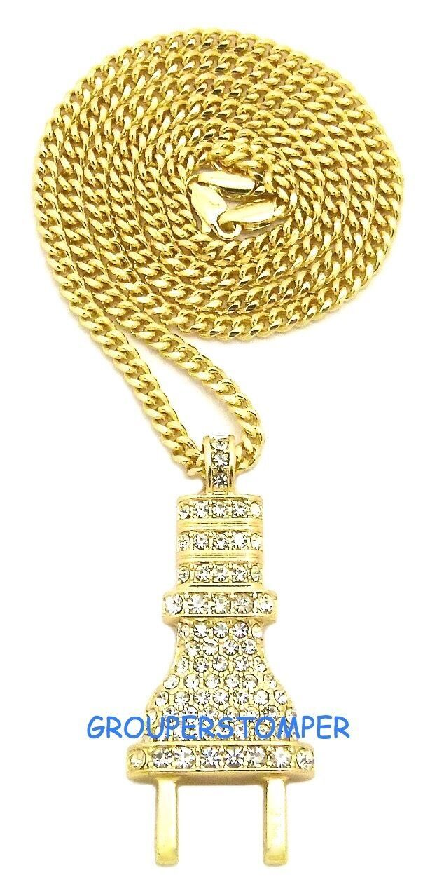 Primary image for The Plug New Small Rhinestone Pendant With 24 Inch Cuban Link Chain Power
