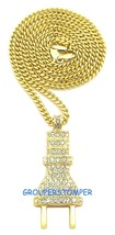 The Plug New Small Rhinestone Pendant With 24 Inch Cuban Link Chain Power - $14.91