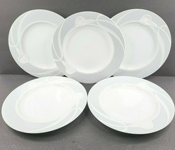 "5 Mikasa Classic Flair Gray Dinner Plates Set Vintage 10 3/4"" Emboss Cal... - $59.07"