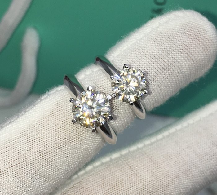 YANHUI 100% Original 18KRGP Stamp Gold Rings Set 8mm 2 Carat Diamant CZ Engageme