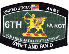 "4.5"" Army 6TH Field Artillery Regiment Swift And Bold Mos Embroidered Patch - $23.74"