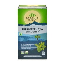 Organic India Tulsi Green Tea Earl Grey 25 tea bags stress relieving refreshing - $7.99+