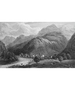 SWITZERLAND Amsteg - 155 Years Old Antique Print - $12.24