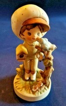 Lefton Figurine Country Big Hat Boy With Blue Bird and Birdhouse - $14.81