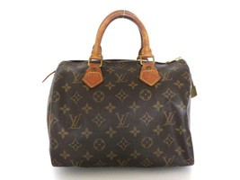 Authentic LOUIS VUITTON Monogram Canvas Leather Speedy 25 Handbag Bag Purse - $303.25