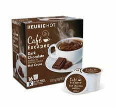 Cafe Escapes Dark Chocolate Hot Cocoa 16 to 96 Keurig K cups Pick Any Quantity - $19.99+