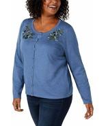 Karen Scott Women's Plus Embroidered Boatneck Cardigan Sweater Blue 1X - $25.80