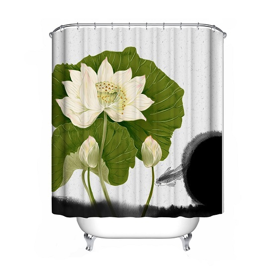 1Pcs 6 Types Flower Shower Curtain Polyester Waterproof Bathroom Curtain Decorat image 4