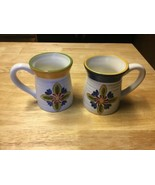 2- Clay Art Large Cup Floral Mugs - $22.72