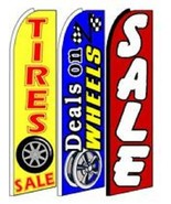 Deals On Wheels Tires Sale  King Size  Swooper Flag Sign  W/Complete 3 Set  - $148.49