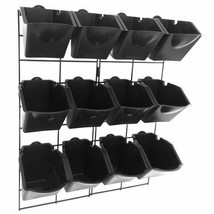"""Vertical Wall Garden Planter Kit with 12 Pots - Metal Frame Size 22"""" W b... - $60.47"""