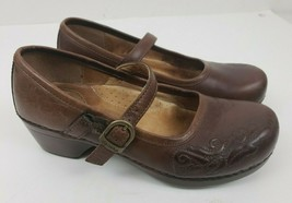Dansko 37 Brown Leather Mary Janes Clogs Slip On Shoes Size 7 - $44.54
