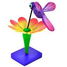 Handmade Carved Painted Alebrijes Oaxacan Wood Hummingbird & Flower Figurine image 3