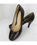 Nurture Kira Brown Allegator Croc Leather Platform Pump Heels Size 7.5 M... - $39.59