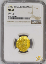 MEXICO 2 ESCUDOS 1711-13 NGC 63 PIRATE GOLD COINS SHIPWRECK TREASURE DOU... - $4,950.00