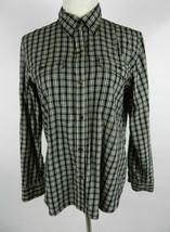 CHAPS Classics Womens Blouse Sz L Black White Plaid LS Button Down Front Cotton - $21.37