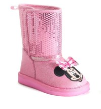 Disney's Minnie Mouse Toddler Girls Plush Boots Size 11~Pink W/ Sequins - £19.46 GBP