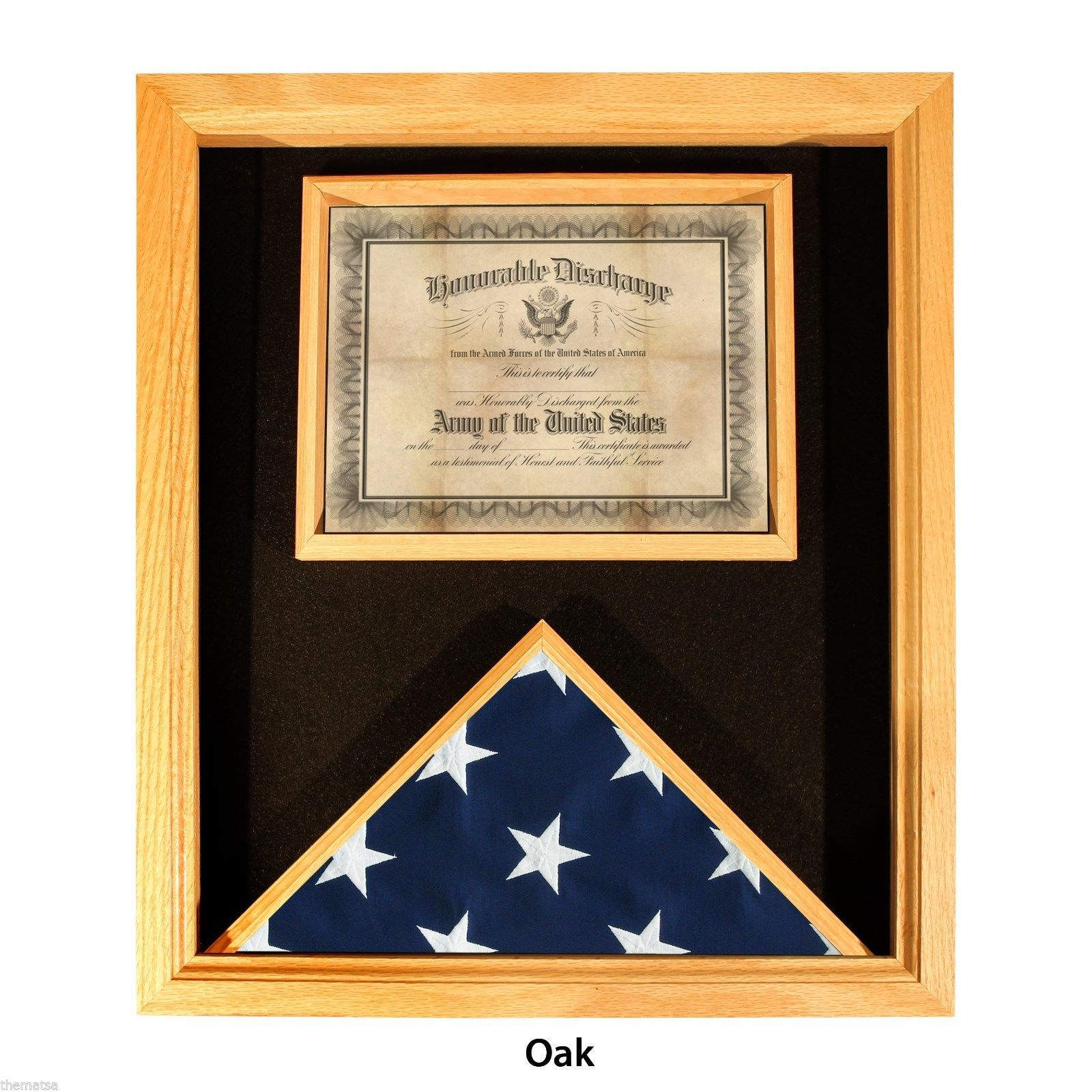 Primary image for USA MADE SOLID OAK WOOD FLAG AND DOCUMENT MEDAL  DISPLAY CASE  SHADOW BOX