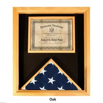 USA MADE SOLID OAK WOOD FLAG AND DOCUMENT MEDAL  DISPLAY CASE  SHADOW BOX - $234.64