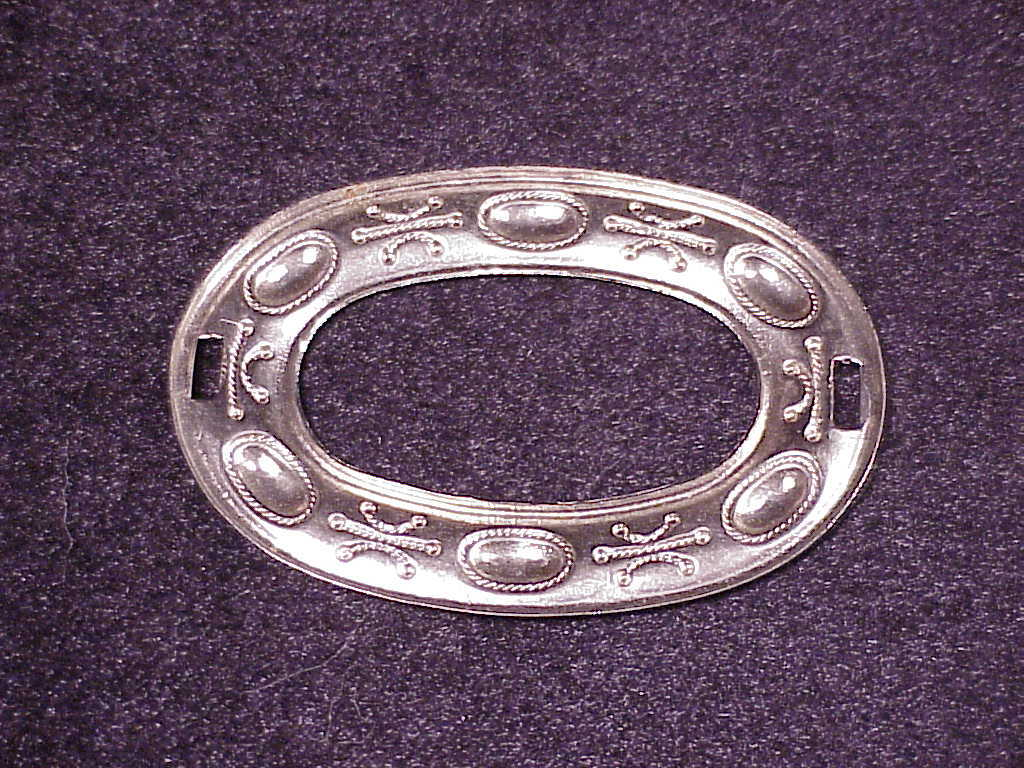 Lot of 6 Metal Slotted Oval Conchos, 2 7/8 inch length