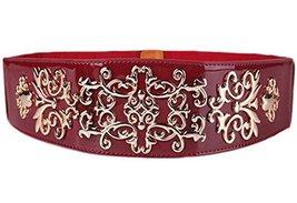 [Hollow Folwer]Bohemian Women Corset Belt PU Leather Waist Belt Metal Buckle,RED