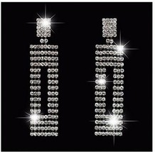 Long Fashion Statement Silver Gold Black Rhinestone Crystal Drop Earrin... - $32.91