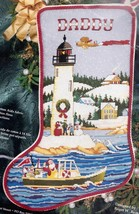 Janlynn Christmas Lighthouse Santa Boat Nautical Cross Stitch Stocking K... - $88.95