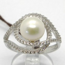 18K WHITE GOLD BAND PEARL ZIRCONIA RING ONDULATE, WAVE, DOUBLE, MADE IN ITALY image 1
