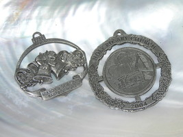 Estate Lot of 2 Pewter Taste of Home Christmas Bells HOLY ROSARY CHURCH ... - $5.89