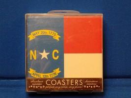 New 4 set North Carolina Coasters Flag State Thirsty Stone Absorbent Nat... - $19.99