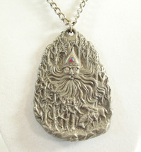 Father Frost Soul of Winter Pewter Pendant Necklace Rawcliffe Artist Signed Big  image 2