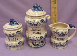 Japan Blue Flower Instant Coffee Canister Creamer & Sugar Bowl with Lid ... - $22.72