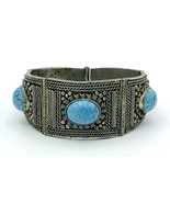 Vintage Turquoise Glass Cabochon Silver Tone Wirework Tapered Panel Brac... - $53.46