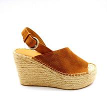 Marc Fisher Womans Mlandela Espadrille Platform Wedge Sandal Gold Sz 7 M  - $39.59
