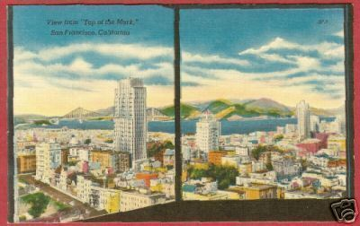 San Francisco CA City fr Top of Mark Linen Postcard BJs