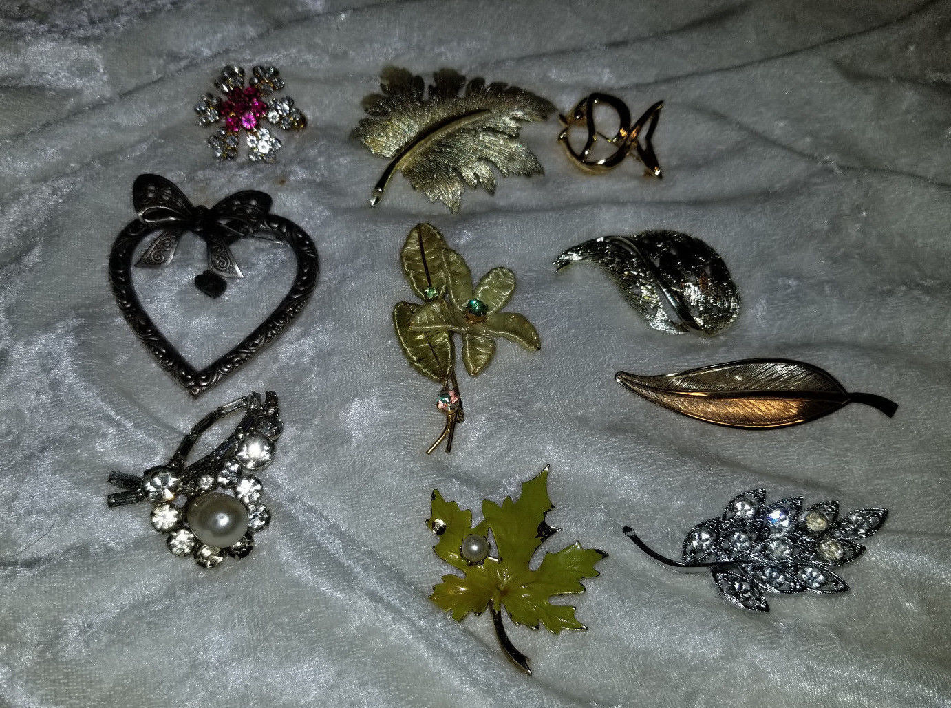 Lot of vintage pin brooches Signed Emmons leaf flowers rhinestone as is - $18.00